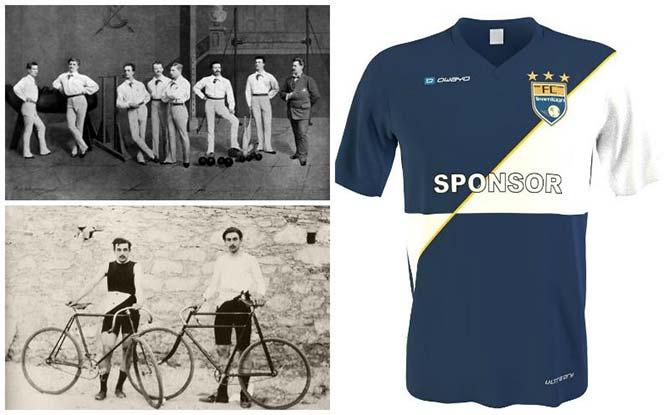 Montage photographique représentant des athlètes dans une salle il y a 100 ans, des cyclistes il y a 100 ans et un maillot de sport moderne, actuel.
