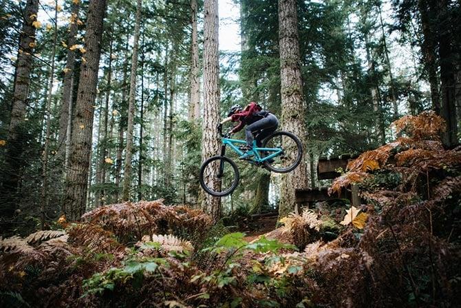 A mountain bike catching sick air