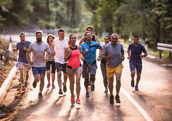 Läufergruppe im Laufcamp