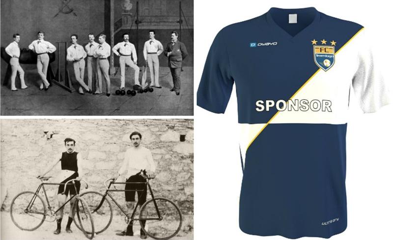 Collage von Sportlern in einer Halle vor 100 Jahren, von Radfahrern vor 100 Jahren und von einem modernen Sporttrikot aus der heutigen Zeit