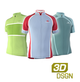 Customised cycling jerseys designed in our 3D kit designer
